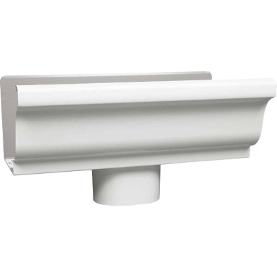 Amerimax 4 In. K Style Galvanized White Gutter Drop Outlet