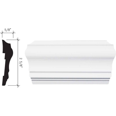 Inteplast Building Products 5/8 In. x 2-5/8 In. x 8 Ft. Crystal White Polystyrene Chair Rail Molding