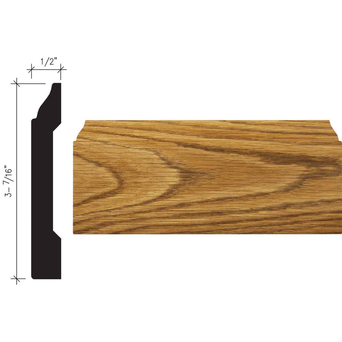 Inteplast Building Products 1/2 In. W. x 3-7/16 In. H. x 8 Ft. L. Ultra Oak Polystyrene Colonial Base Molding Image 1