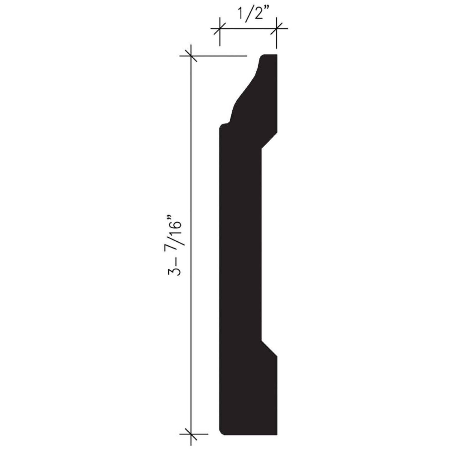 Inteplast Building Products 1/2 In. W. x 3-7/16 In. H. x 8 Ft. L. Ultra Oak Polystyrene Colonial Base Molding Image 4