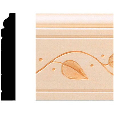House of Fara 29/64 In. W. x 3 In. H. x 8 Ft. L. Decorative Vine Base Molding