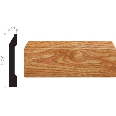 Inteplast Building Products 1/2 In. W. x 3-7/16 In. H. x 8 Ft. L. Majestic Oak Polystyrene Colonial Base Molding