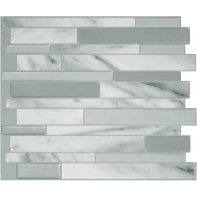 Smart Tiles Approx. 10 In. x 10 In. Glass-Like Vinyl Backsplash Peel & Stick, Milano Carrera Mosaic (6-Pack)