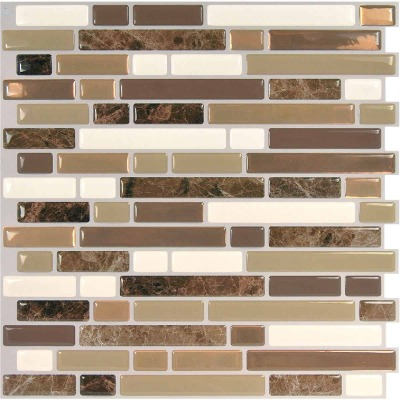 Smart Tiles Approx. 10 In. x 10 In. Glass-Like Vinyl Backsplash Peel & Stick, Bellagio Nola Mosaic