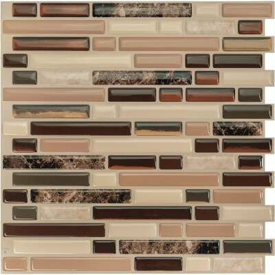 Smart Tiles Approx. 10 In. x 10 In. Glass-Like Vinyl Backsplash Peel & Stick, Bellagio Keystone Mosaic (4-Pack)