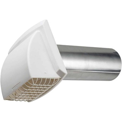 Dundas Jafine ProMax 4 In. White Plastic Dryer Vent Hood (Bulk)