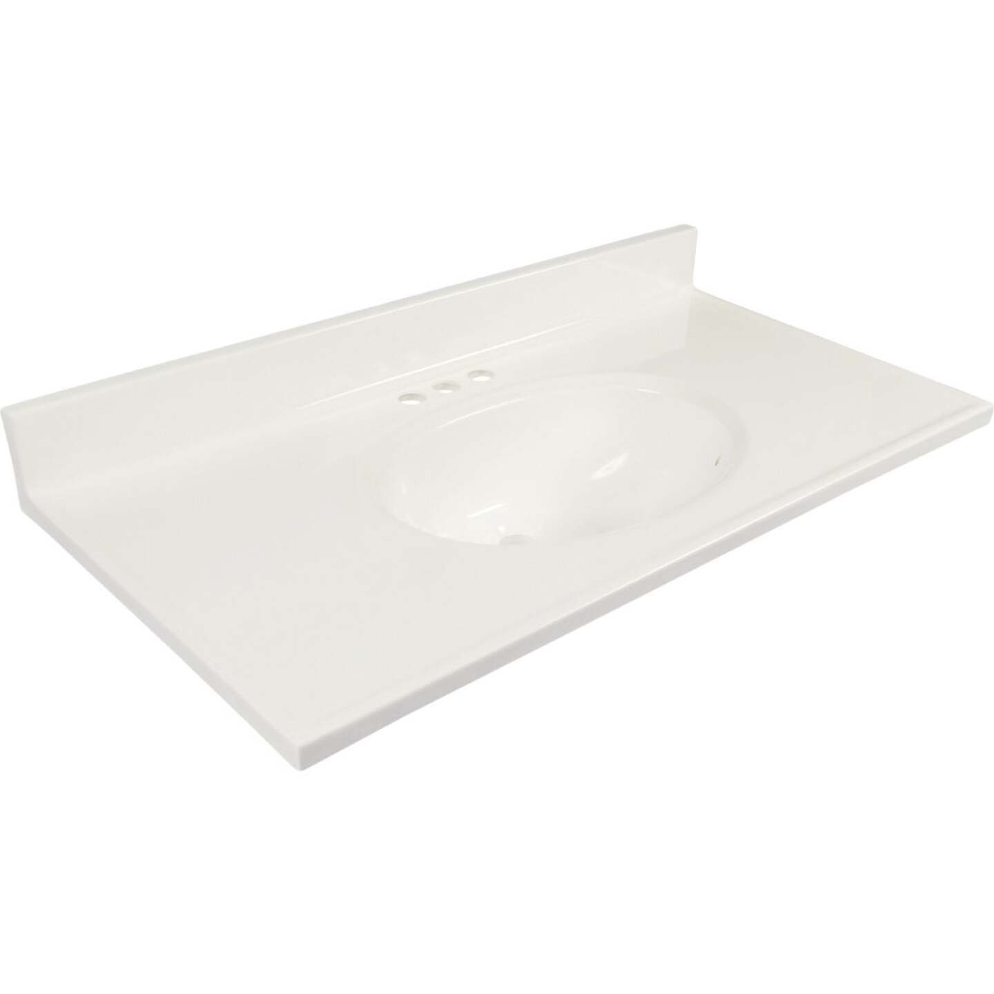 Modular Vanity Tops 37 In. W x 19 In. D Solid White Cultured Marble Vanity Top with Oval Bowl Image 1