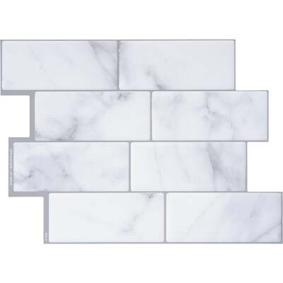 Smart Tiles Approx. 9 In. x 11 In.. Glass-Like Vinyl Backsplash Peel & Stick, Metro Carrera Mosaic (4-Pack)