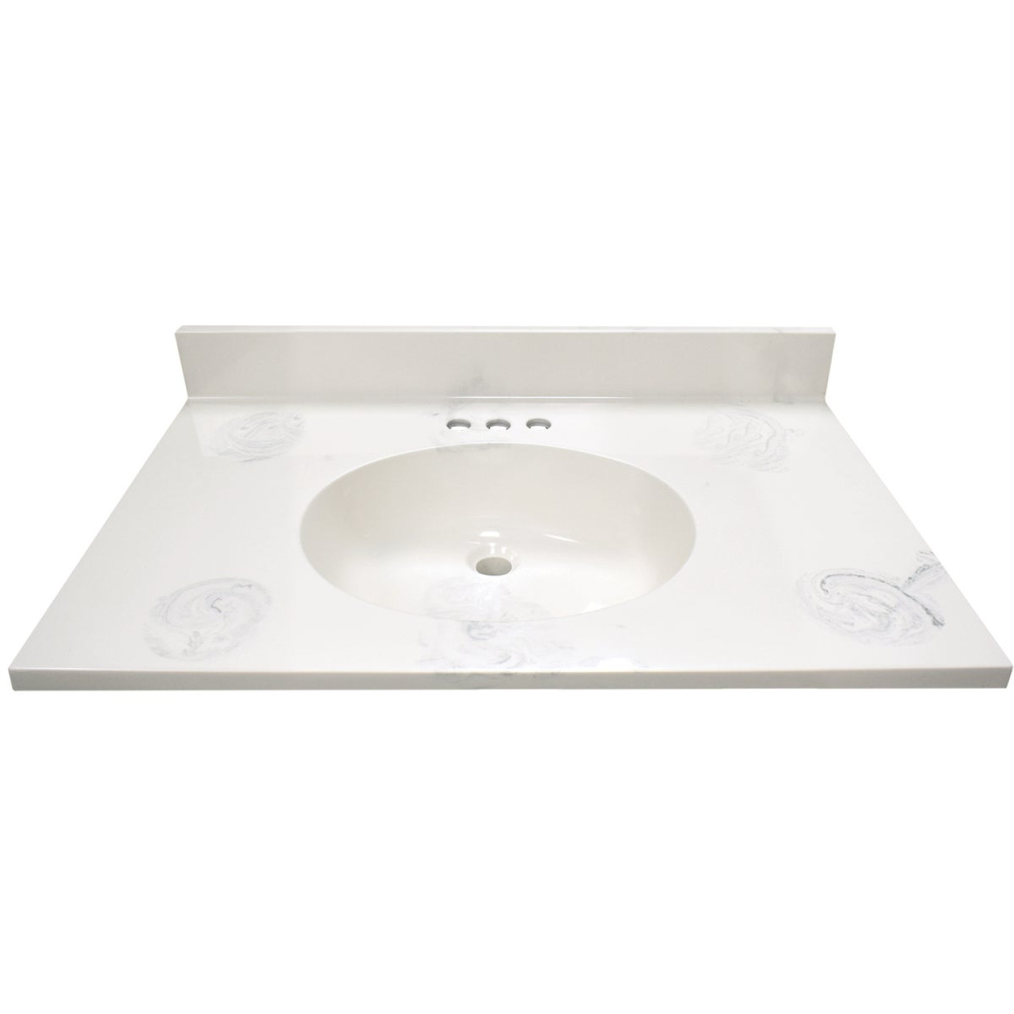 Modular Vanity Tops 31 In. W x 22 In. D Marbled Dove Gray Cultured Marble Flat Edge Vanity Top with Oval Bowl Image 1