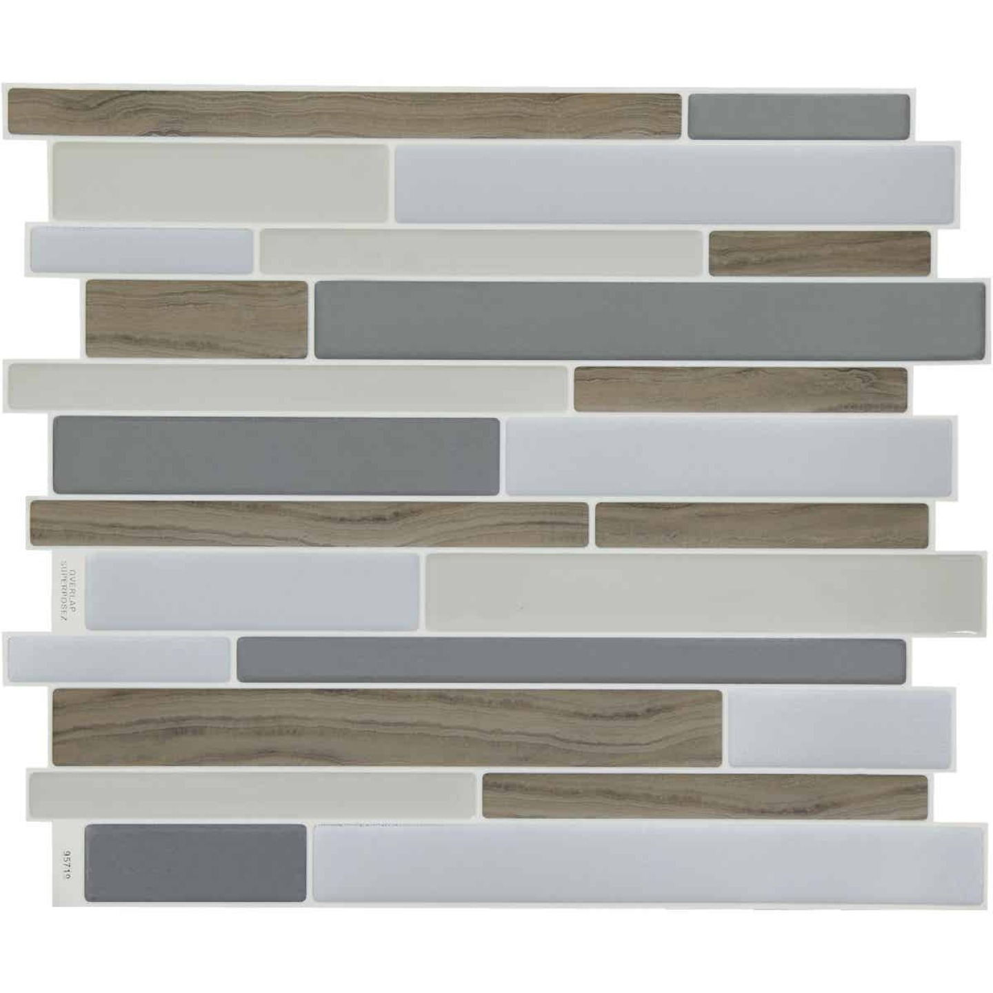 Smart Tiles 9.63 In. x 11.55 In. Glass-Like Plastic Backsplash Peel & Stick, Milano Argento Mosaic (6-Pack) Image 1