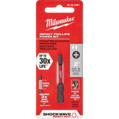 Milwaukee Shockwave #1 Phillips 2 In. Power Impact Screwdriver Bit
