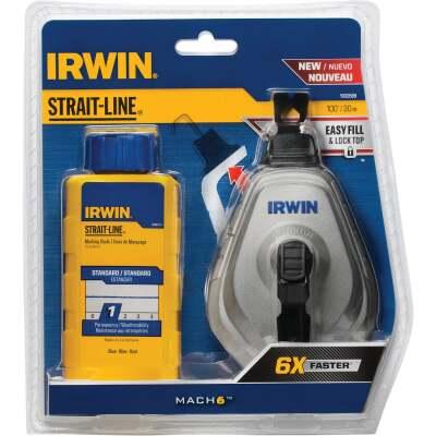 Irwin STRAIT-LINE Mach6 100 Ft. Chalk Line Reel and Chalk, Blue