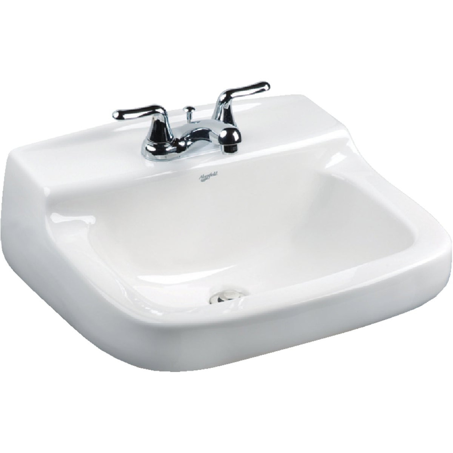 Mansfield Walnut Knoll Rectangular Wall Hung Bathroom Sink, White Image 1