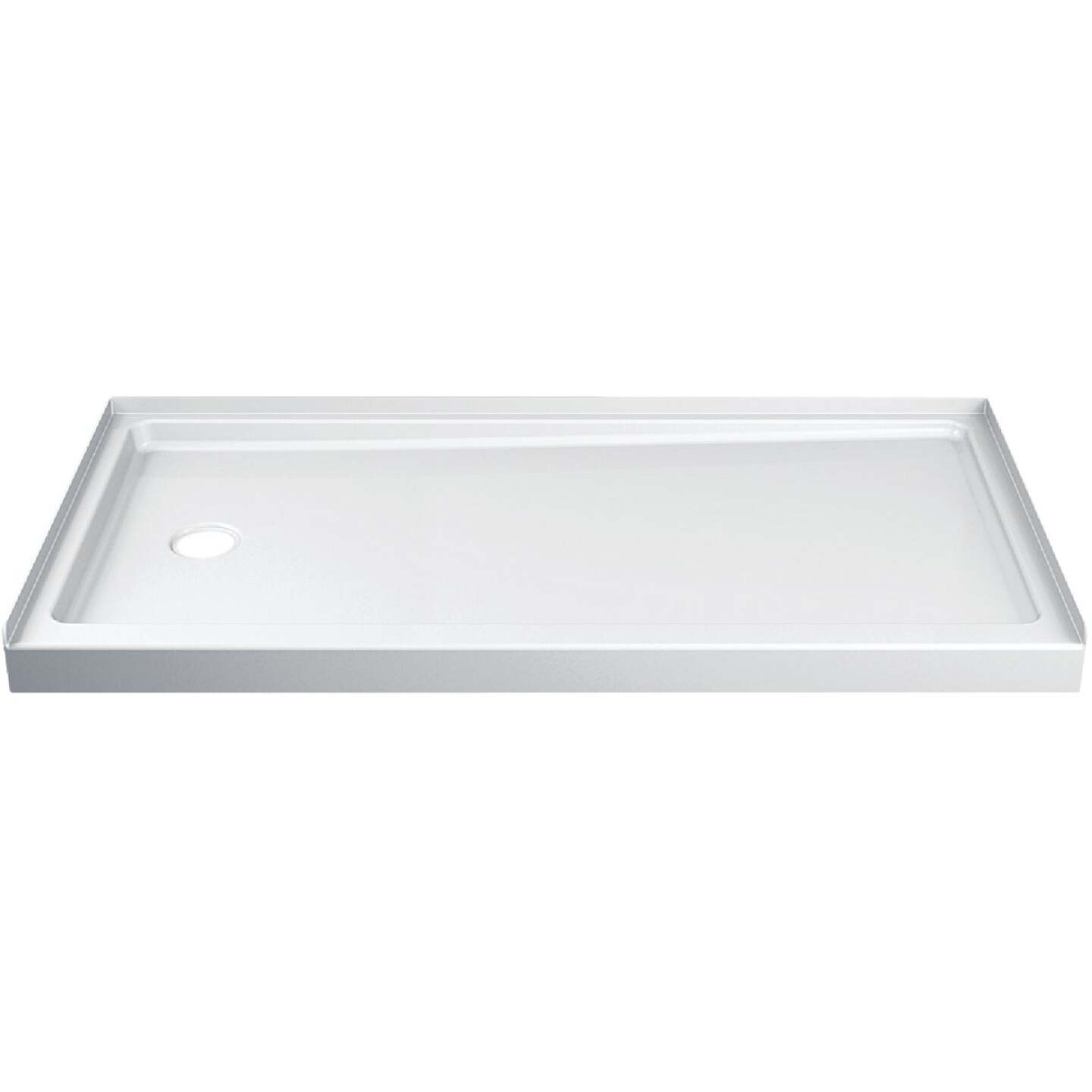 Delta Hycroft 60 In. W x 30 In. D Left Drain Shower Floor & Base in White Image 1