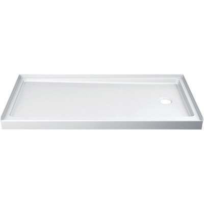 Delta Hycroft 60 In. W x 30 In. D Right Drain Shower Floor & Base in White