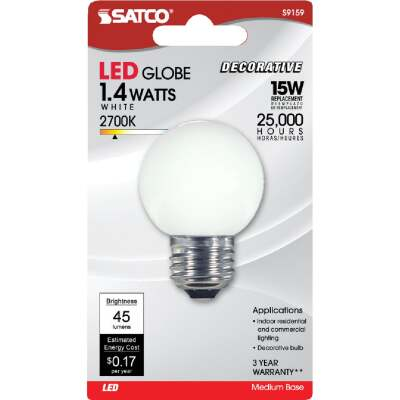 Satco 15W Equivalent Soft White G16.5 Medium LED Decorative Globe Light Bulb