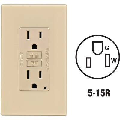 Leviton SmartlockPro Self-Test 15A Ivory Residential Grade 5-15R GFCI Outlet with Screwless Wall Plate