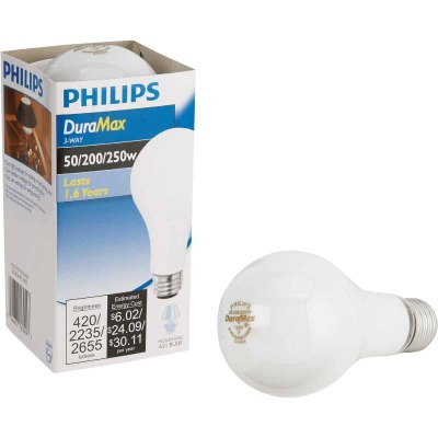 Philips Duramax 50/200/250W Frosted Soft White Medium Base A21 Incandescent 3-Way Light Bulb