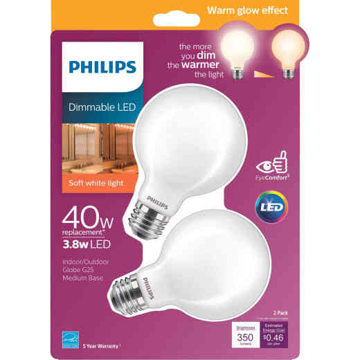 Philips Warm Glow 40W Equivalent Soft White G25 Medium Dimmable Frosted LED Decorative Globe Light Bulb (2-Pack)