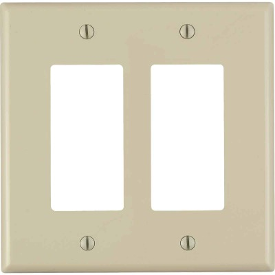 Leviton Decora 2-Gang Plastic Oversized Rocker Decorator Wall Plate, Ivory
