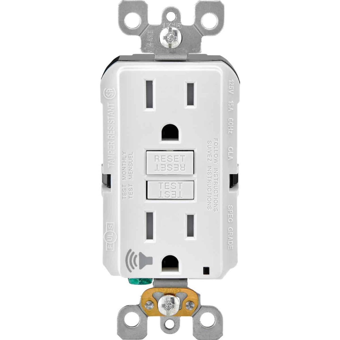 Leviton SmartLockPro Audible Trip Alert 15A White Residential Grade 5-15R Self-Test GFCI Outlet Image 1