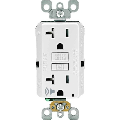 Leviton SmartLockPro Audible Trip Alert 20A White Residential Grade 5-15R Self-Test GFCI Outlet