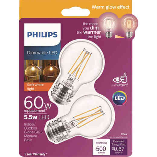 Philips Warm Glow 60W Equivalent Soft White G16.5 Medium Dimmable LED Decorative Light Bulb (2-Pack)
