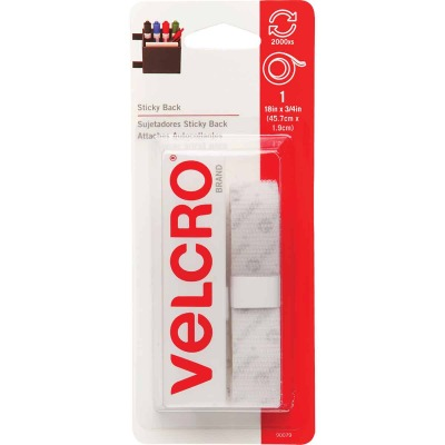 VELCRO Brand 3/4 In. x 18 In. White Sticky Back Reclosable Hook & Loop Roll