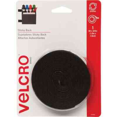 VELCRO Brand 3/4 In. x 5 Ft. Black Sticky Back Reclosable Hook & Loop Roll