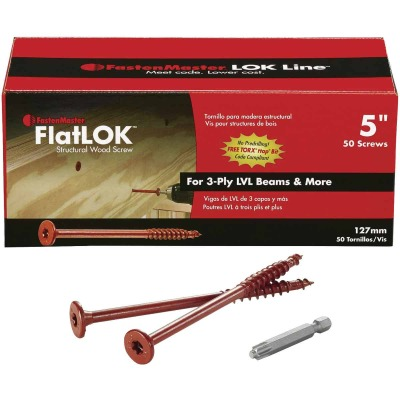 FastenMaster FlatLok 5 In. Engineered Structural Wood Screw (50 Ct.)