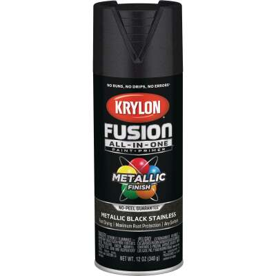 Krylon Fusion All-In-One Metallic Spray Paint & Primer, Black Stainless