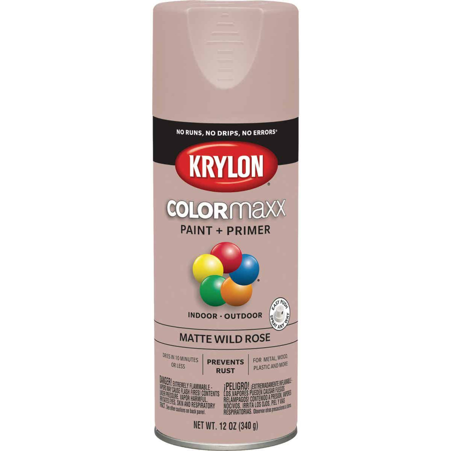Krylon Colormaxx Matte Spray Paint & Primer, Wild Rose Image 1