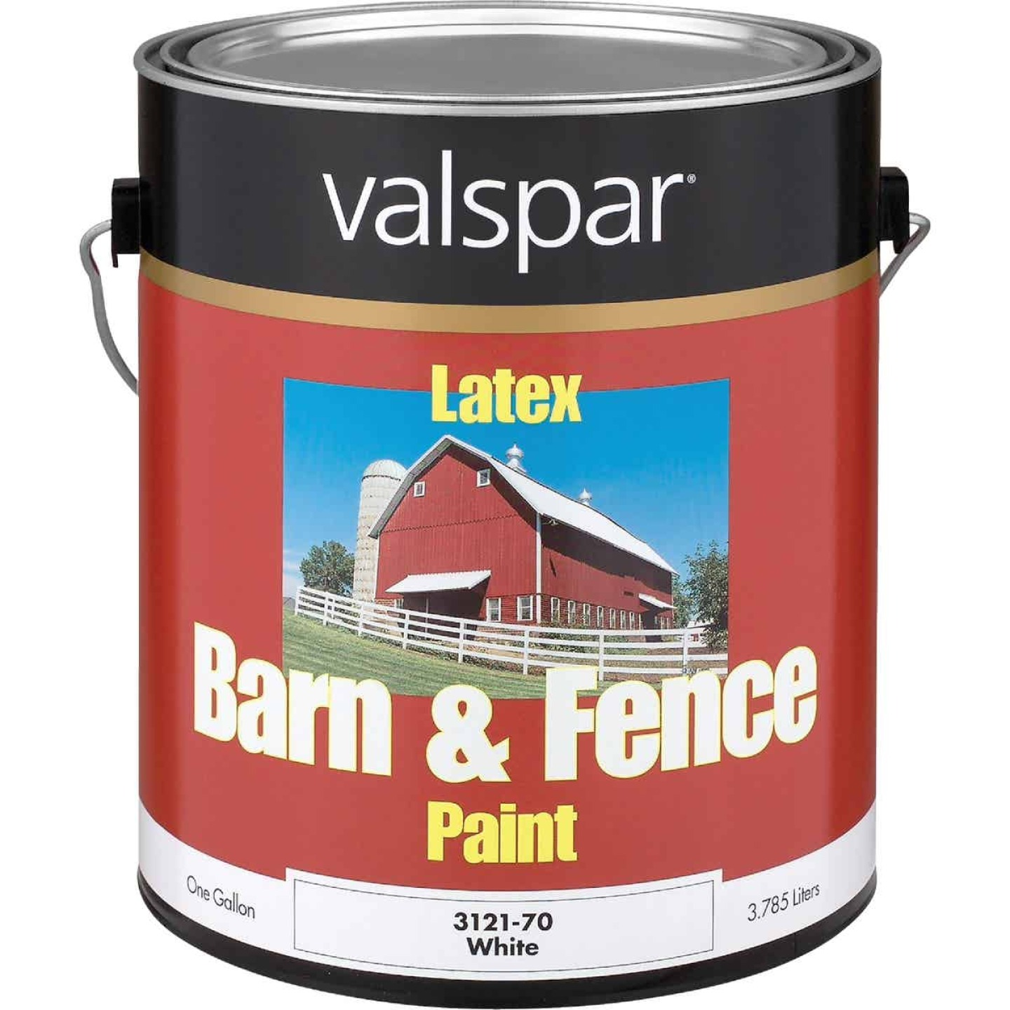 Valspar Latex Paint & Primer In One Flat Barn & Fence Paint, White, 1 Gal. Image 1