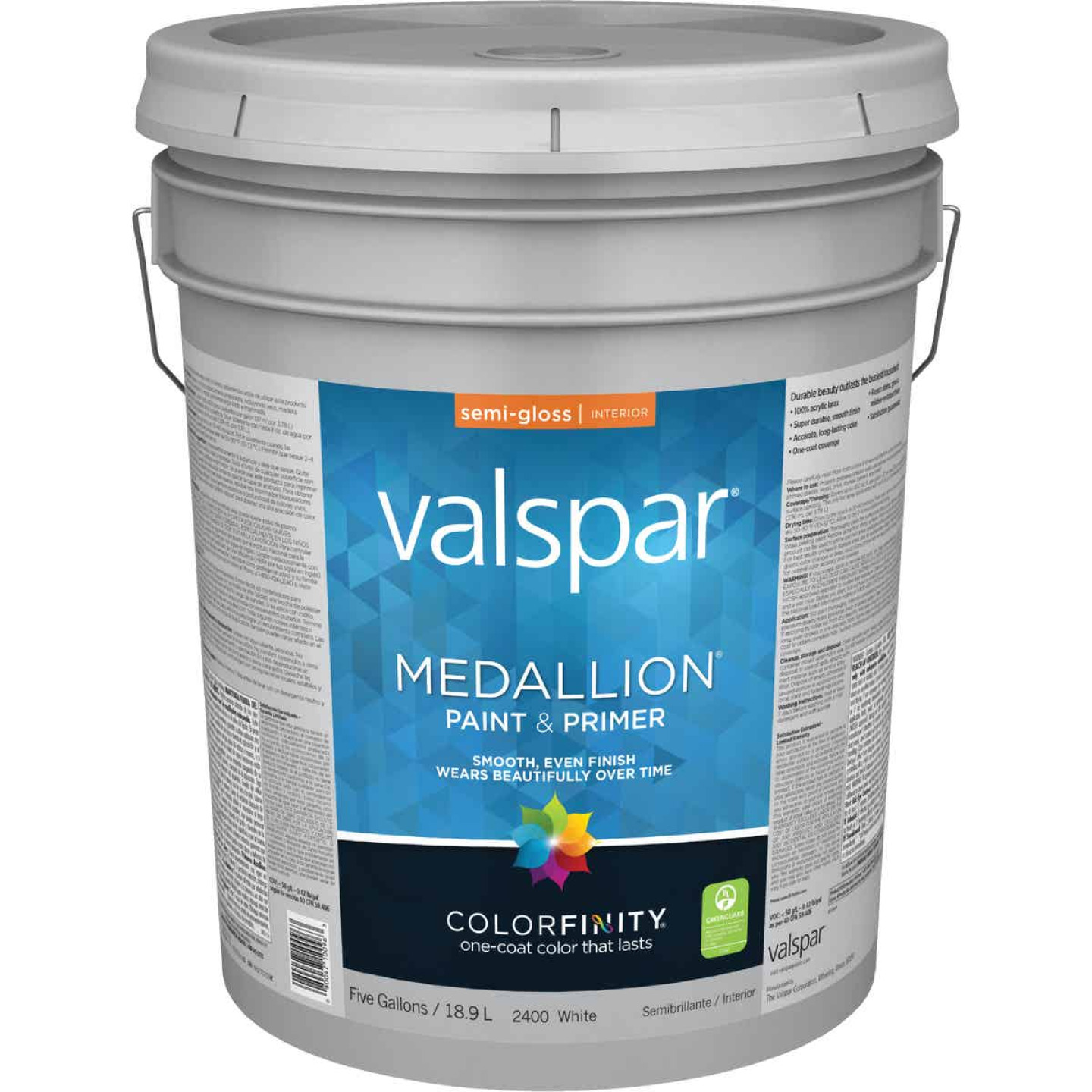 Valspar Medallion 100% Acrylic Paint & Primer Semi-Gloss Interior Wall Paint, White, 5 Gal. Image 1