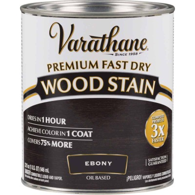 Varathane Fast Dry Ebony Wood Urethane Modified Alkyd Interior Wood Stain, 1 Qt.
