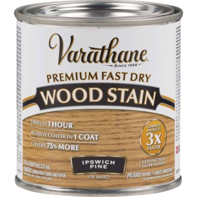Varathane Fast Dry Ipswich Pine Urethane Modified Alkyd Interior Wood Stain, 1/2 Pt.
