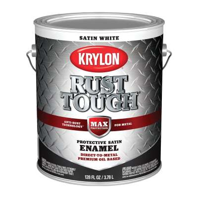 Valspar Anti-Rust Oil-Based Satin Armor Rust Control Enamel, White, 1 Gal.