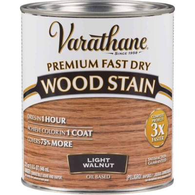 Varathane Fast Dry Light Walnut Urethane Modified Alkyd Interior Wood Stain, 1 Qt.