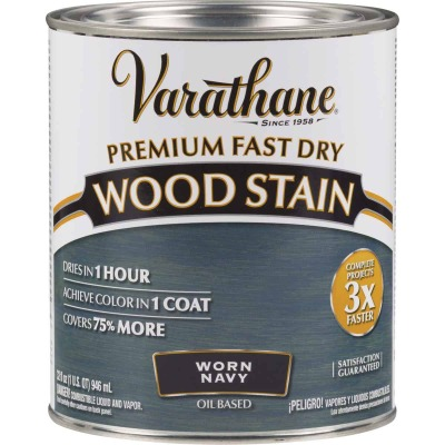 Varathane Fast Dry Worn Navy Urethane Modified Alkyd Interior Wood Stain, 1 Qt.
