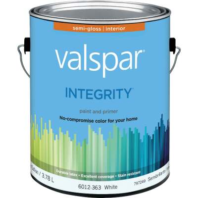Valspar Integrity Latex Paint And Primer Semi-Gloss Interior Wall Paint, White, 1 Gal.