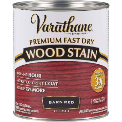 Varathane Fast Dry Barn Red Urethane Modified Alkyd Interior Wood Stain, 1 Qt.