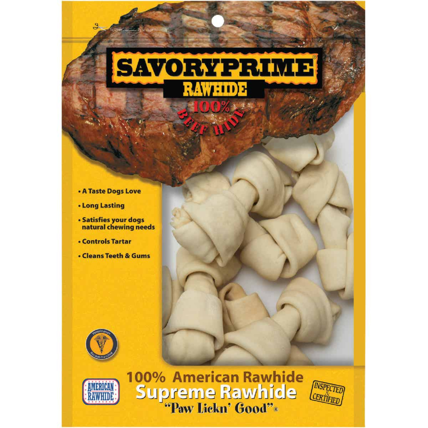 Savory Prime Knotted 4 In. to 5 In. Rawhide Bone (10-Pack) Image 1